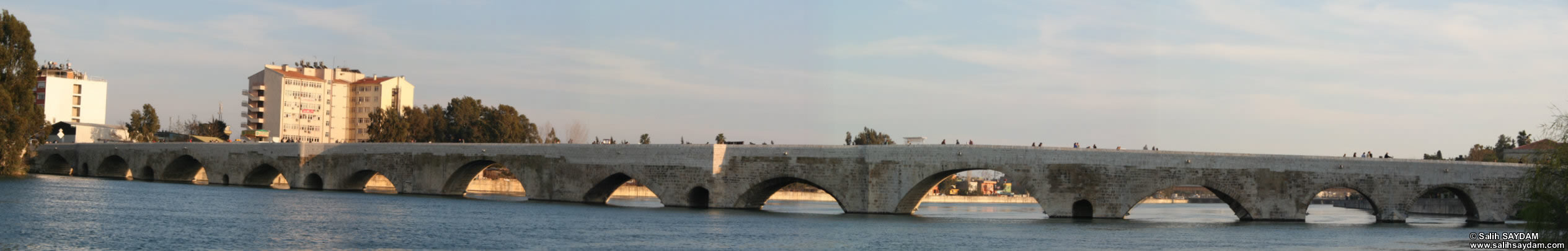 Panorama #01 of Taskopru (Stone Bridge), which was build over the River Seyhan by the Roman Emperor Hadrianus in the 4th century.