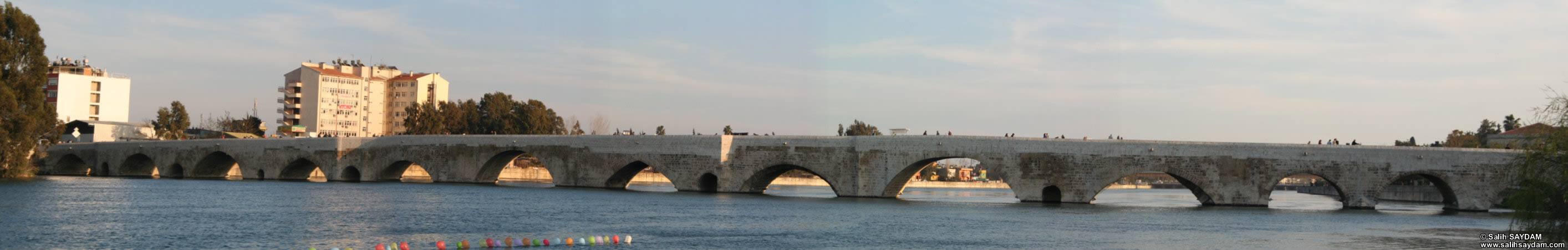 Panorama #02 of Taskopru (Stone Bridge), which was build over the River Seyhan by the Roman Emperor Hadrianus in the 4th century.